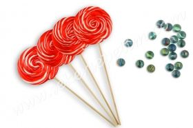 12 Pcs Lollipop Candy Red White