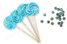12 Pcs Swirl Lollipop Candy Blue White