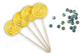 12 pcs Lollipop candy yellow white